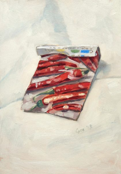 Painting of a Chilli pepper seed packet
