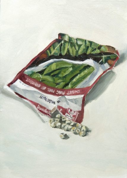 Painting of a Mangetout seed packet