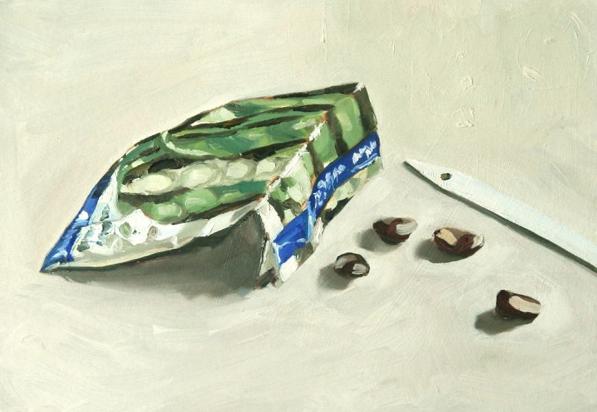 Painting of a Broad Bean seed packet