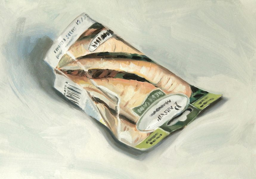 Painting of a Parsnip seed packet