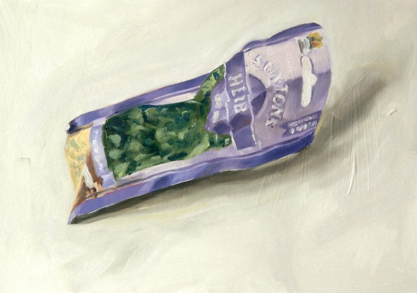 Painting of a Coriander seed packet