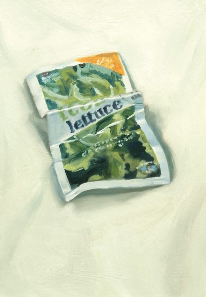 Painting of a Lettuce seed packet
