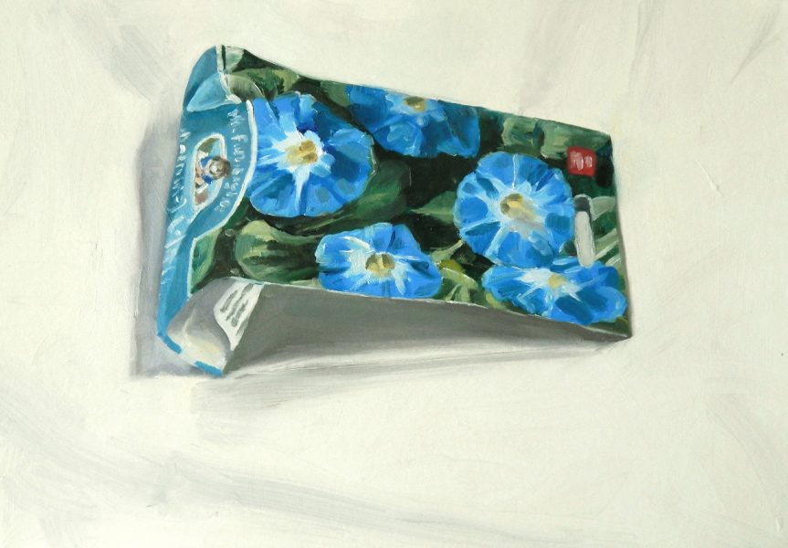 Painting of a Morning Glory seed packet
