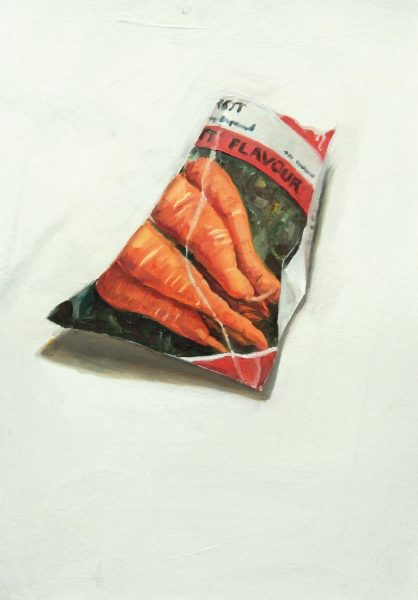 Painting of a Carrot seed packet