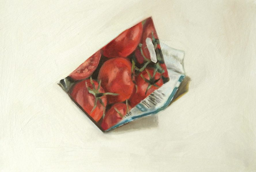Painting of a Tomato seed packet