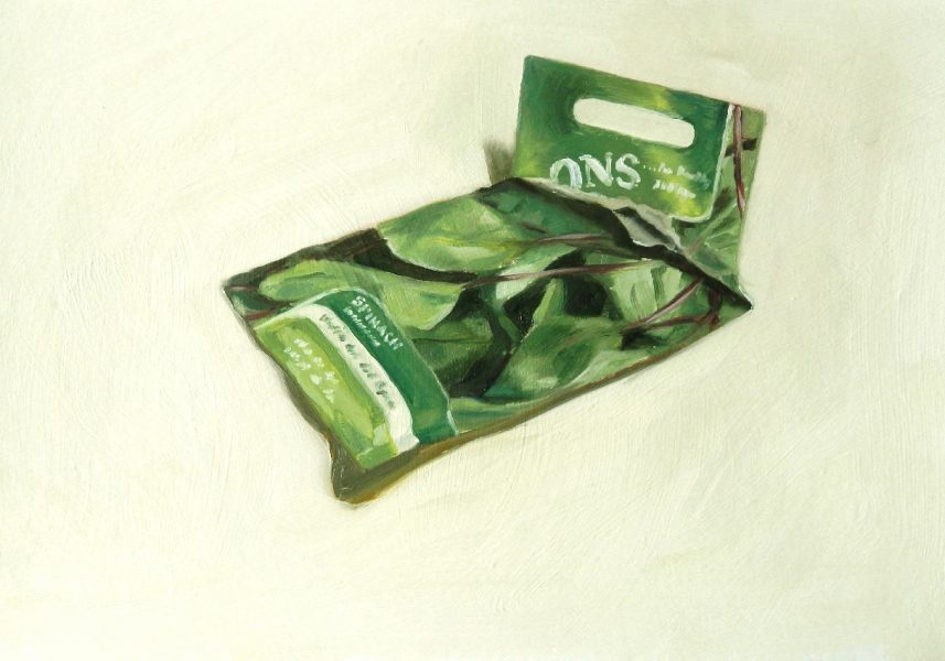 Painting of a Spinach seed packet