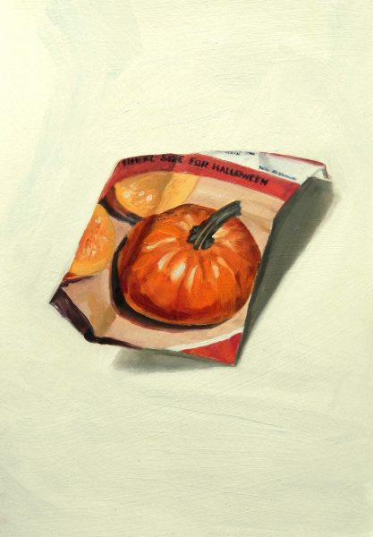 Painting of a Pumpkin seed packet