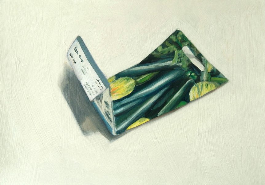 Painting of a Courgette seed packet