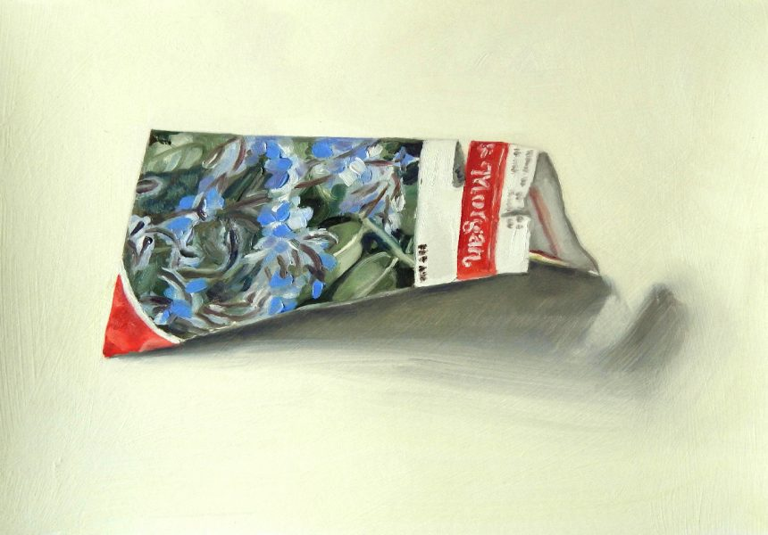 Painting of a Borage seed packet