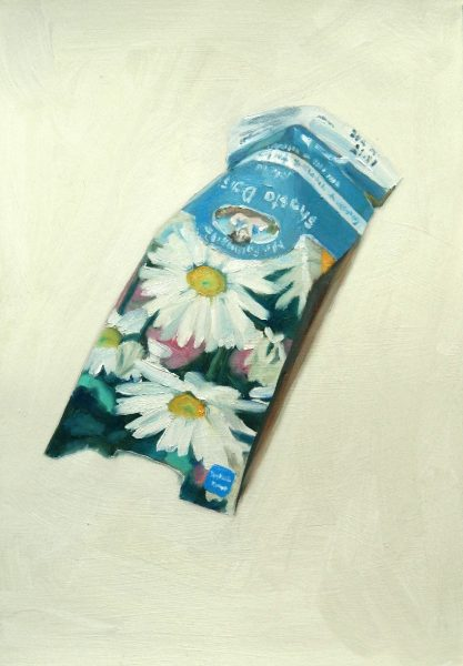 Painting of a Shasta Daisy seed packet