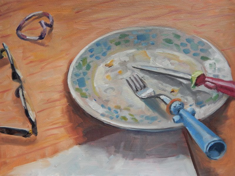 still-life-oil-painting-breakfast-plate-empty-plate-on-table