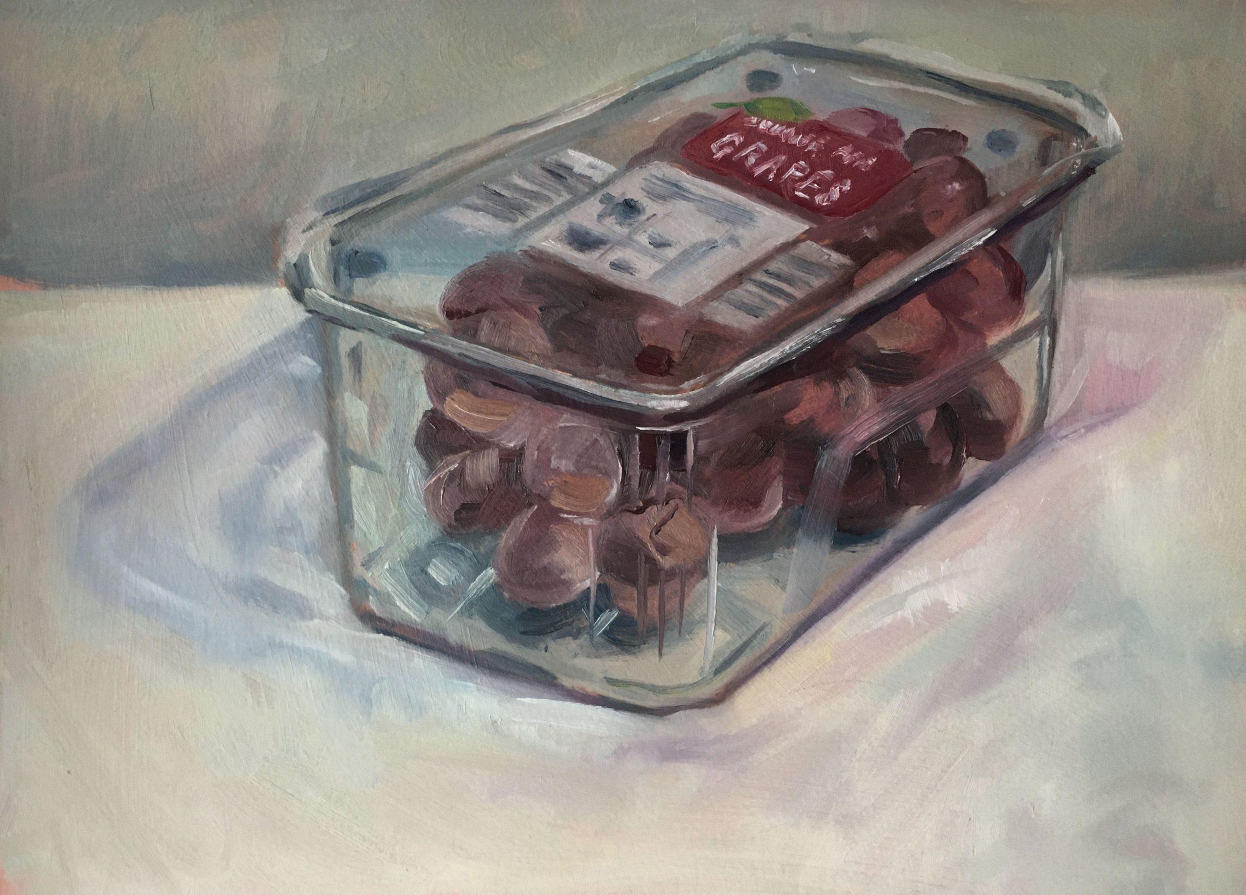 still-life-oil-painting-punnet-of-grapes