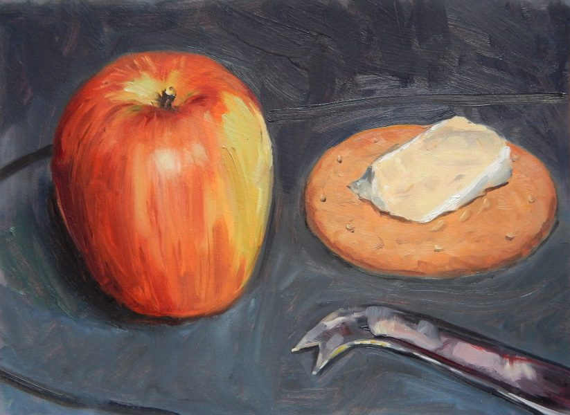 still-life-oil-painting-apple-and-brie-on-biscuit