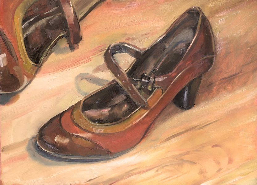 still-life-oil-painting-brown-strap-shoes