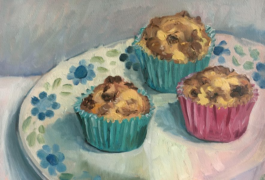 still-life-oil-painting-three-muffins-on-plate