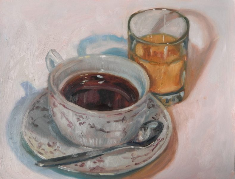 still-life-oil-painting-cup-of-coffee-glass-of-orange-juice