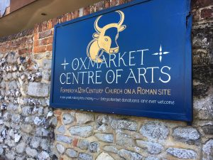 Painted sign outside the Oxmarket Gallery, Chichester.