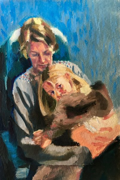 Oil painting of a mother with daughter sitting her lap on a train journey