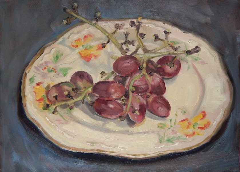 still-life-oil-painting-grapes-on-vintage-plate