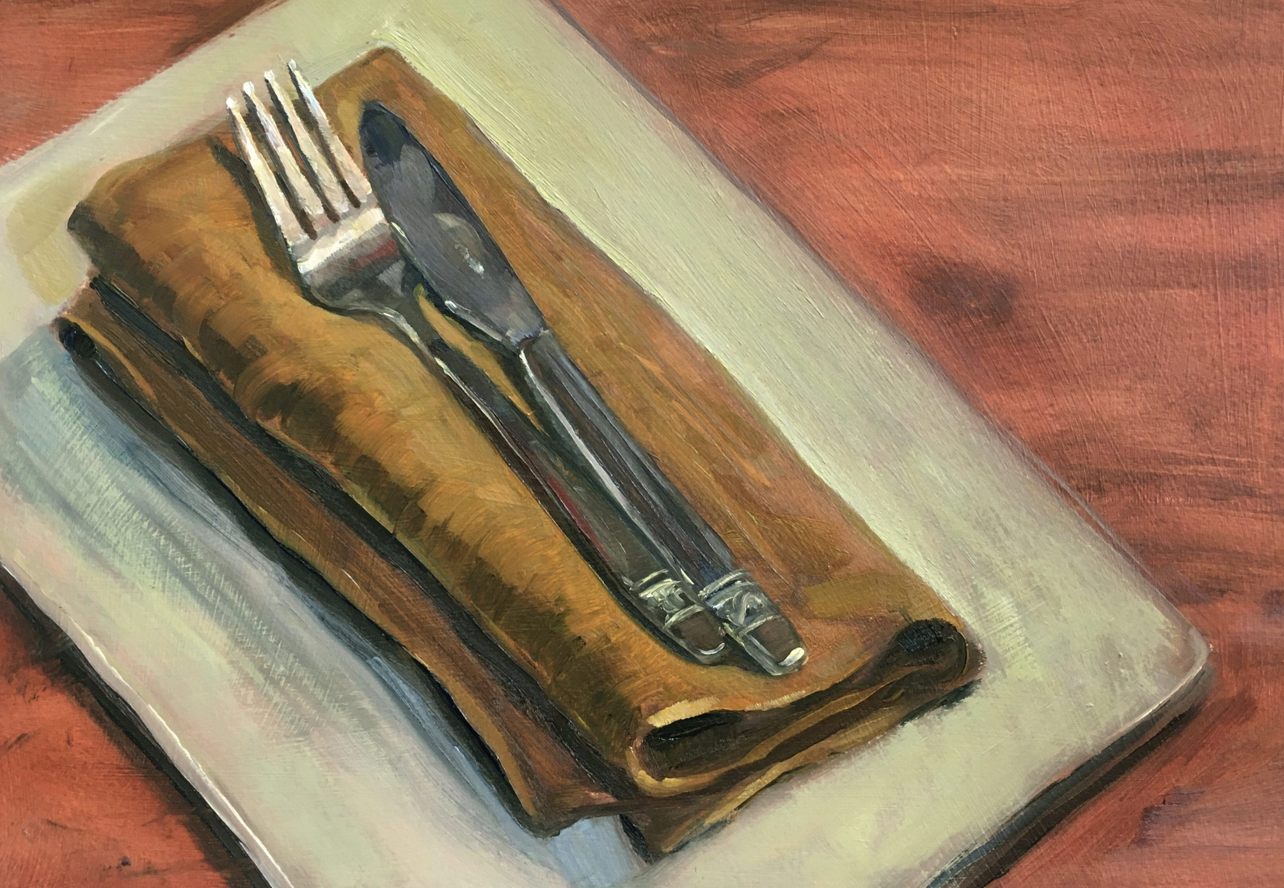 still-life-oil-painting-knife-and-fork-on-napkin