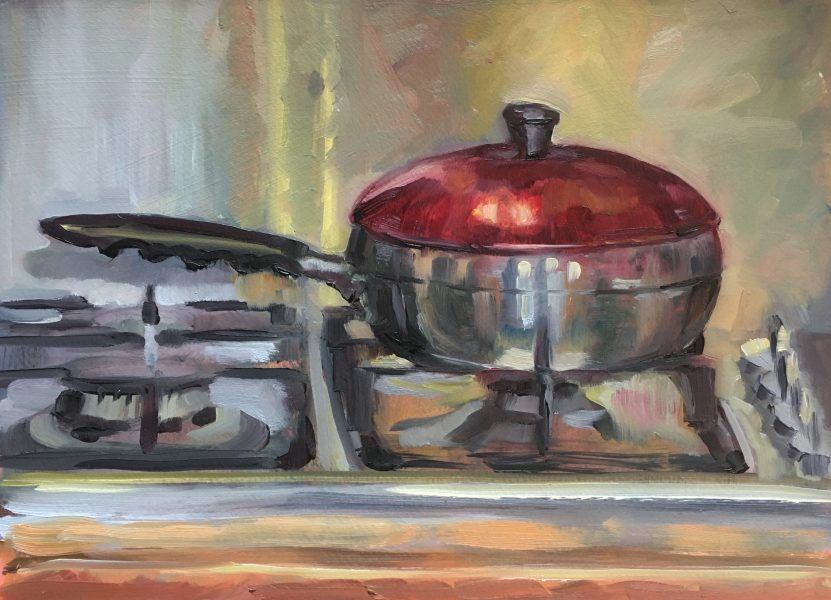 still-life-oil-painting-poached-egg-pan-on-hob